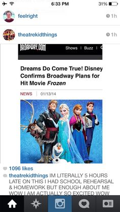 FROZEN IS GOING TO BE ON BROADWAY!!! I CANT BELIEVE THIS!!!!