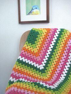 blanket I made for my old Etsy shop, Popscicle Stick.  Need to get back at it this summer...