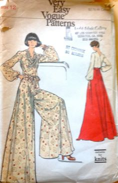 Vogue 8755 1970s Cowl Neck Back Wrap Blouse Palazzo Pants and Maxi length Flared Skirt Womens Vintage Sewing Pattern by mbchills