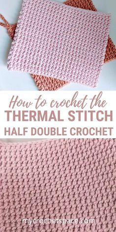 The Thermal Stitch (half double crochets) is an extra thick stitch with a beautiful texture that is perfect for potholders. This is an easy to follow pattern and video demonstration on how to crochet the Thermal stitch using half double crochets. Free pattern for a potholder. #crochet #thermalstitch #potholder #crochetpotholder
