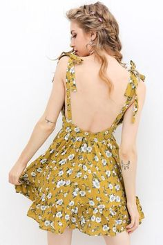 Simplee Sexy backless padded print summer dress women Summer v neck beach  dresses Boho strap yellow short dressBrand Name  SIMPLEEMaterial   Cotton c82554948279f