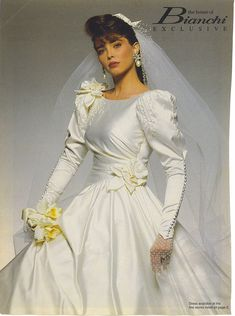 Lace was still popular, and elaborate ball gowns were still the Wedding Dresses Atlanta, Wedding Dress Styles, Wedding Attire, 1980s Wedding Dress, Beautiful Wedding Gowns, Perfect Wedding Dress, Bridal Party Dresses, Bridal Gowns, Style Année 80