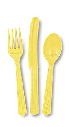 Soft Yellow Plastic Silverware Set for 6 Guests (18pcs) U... https://www.amazon.com/dp/B00Y37U3ZI/ref=cm_sw_r_pi_dp_x_CQ3Ezb6H0KT0A