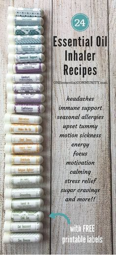 How to make essential oil inhaler plus 24 favorite inhaler recipes for allergies, headaches, cravings, stress, energy, focus, calming and more! And I LOVE the FREE printable labels! SO CUTE!! And FREE!