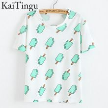 Kaitingu marque 2016 nouveau mode Vintage Summer Style Harajuku T Shirt femmes vêtements hauts Emoji drôle Tee - Shirts Ice Cream imprimer(China (Mainland))
