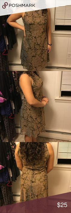 Donna Rico dress Green and tan dress. Floral pattern. 38bust 36waist and 40 long Donna Ricco Dresses Midi
