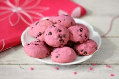 Pink Chocolate Chip Cookies - A light, fluffy pink cookie, chock full of mini chocolate chips.