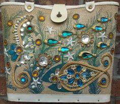 Enid Collins - Sacs 'Bijoux' - Toile, Perles et Pierres Imitation - Poissons et Hippocampe