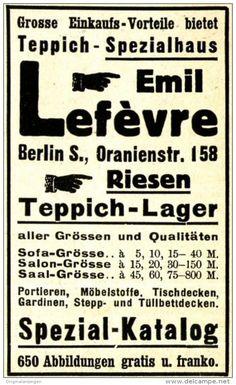 Original-Werbung/ Anzeige 1910 - TEPPICHE LEFÈVRE - BERLIN - ca. 45 x 75 mm
