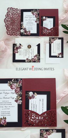Blooms Around Every Turn-Burgundy Laser Cut Pocket Fold invitation with victorian inspired floral classic wine red laser cut wedding invitations Pocketfold Invitations, Classic Wedding Invitations, Laser Cut Wedding Invitations, Wedding Invitation Wording, Party Invitations, Invite, Wedding Invitation Inspiration, Invitation Ideas, Mauve Wedding