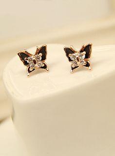 Gold Diamond Butterfly Stud Earrings US$8.49
