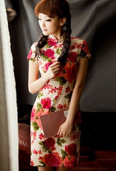 Short Mandarin Collar Cheongsam / Qipao / Chinese Dress