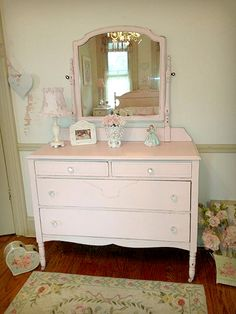 Love this pink antique dresser for my girls room.