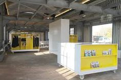 The Moveables is an interior on wheels designed especially for the historic military engineering hangar of Fort Vijfhuizen – a UNESCO world heritage site and one of forty-two forts in the defense line of Amsterdam, the Netherlands. Design Furniture, Office Furniture, Visual Merchandising, Military Engineering, Mobile Storage, Industrial, Branding, Retail Shop, Small Rooms
