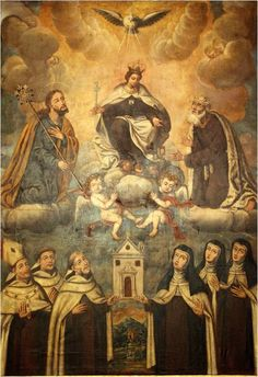 Santos da Ordem do Carmo junto à Virgem Maria, Flor do Carmelo.