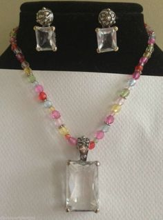 "Clear Glass Pendant 1.75"" L  16"" Multicolored Beaded Necklace Glass Earrings Set #Handmade"