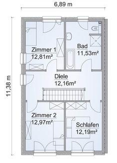 Doppelhaus Grundriss OG Schmal Mit Satteldach   Doppelhaushälfte Bauen  Ideen Fertighaus SH 127 S DHH Von