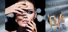 """American beauty brand Estee Lauder unveiled their new """"The Metallics"""" make-up collection, featuring their global ambassador, French beauty Constance Jablonski Beauty Ad, French Beauty, Hair Beauty, Estee Lauder Makeup Set, Makeup Art, Hair Makeup, Dna Model, The New Classic, Make Up Collection"""