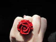 Rose Rings adjustable madetoorder by OhYarnKnit on Etsy, $10.00