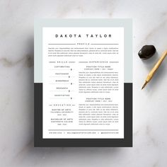 Resume Template and Cover Letter Template for Word | DIY Instant Download | The Dakota | Professional and Creative 2 Page Design