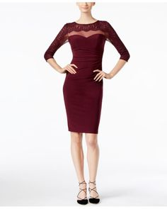 INC International Concepts | Red Illusion Lace Sheath Dress, Only At Macy's | Lyst