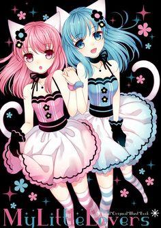 pink and blue cat neko girls
