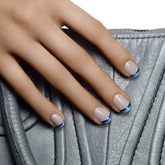 french duet by essie - too much is never enough. pile on the color for an alluring french  manicure in mischievous soft gray and two shimmering blues.