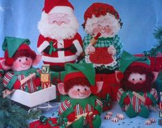 Santa Mrs Claus Elves Decor Sewing Pattern UNCUT Butterick 5599 Christmas holiday elf