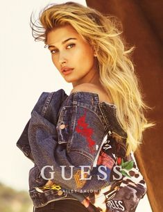 d7fd6c3eeeeb Hailey Baldwin poses in embellished denim from Guess Jeans fall-winter 2016  campaign