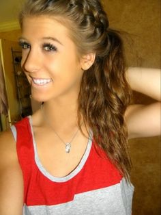 French Braid into Side Ponytail.
