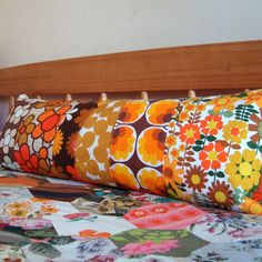 Long  Vintage Patchwork Pillow / Cushion Cover - Extra long bolster style oblong - Retro 1970's Orange, Brown and Yellow. £37,50, via Etsy.