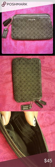 Coach card/coin pouch Received this as a gift, used once. Didnt really have a use for it and been sitting in my closet since. Large pocket holds three cards. In perfect condition. Coach Bags Wallets
