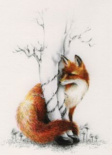 Fox illustration Loooove!! Oh, except for the chicks legs, that's just kinda weird. I thought they were a birch tree.