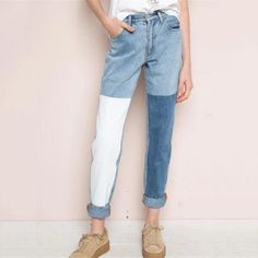 29.04$  Buy here - http://aliorq.shopchina.info/go.php?t=32805746825 - 2017 European All-match Women Square Panelled Jeans Denim Pencil Pants High Waist Casual Full Length Slim Trousers Female L662  #magazineonlinewebsite