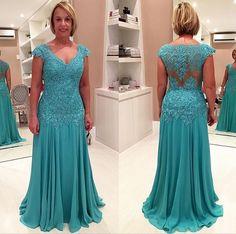 >> Click to Buy << long evening dress 2016 new formal dresses sexy v-neck cap sleeve elegant appliques lace mother of the bride dresses vestidos #Affiliate