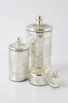 Monarch Mercury Jar these would work for the qtip and cotton ball holding as well