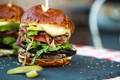 Smoky Portobello Black Bean Burger With Roasted Garlic Aioli
