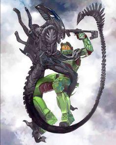 Another Fan art Alien and Halo worlds mixed by luisnostromo Xenomorph, Master Chief Costume, Art Alien, Aliens, Halo Master Chief, Halo Series, Halo Game, Alien Vs Predator, Predator Art