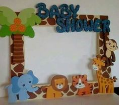 safari/jungle theme frame - easy to make with foam/wooden cutouts or cricut designs.  Blog leads to Spanish blog and they use a large one for photo op display but I like the look of a small one, maybe to house the sonogram photo, to sit somewhere at the monkey shower/mdb