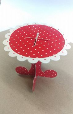 Cute red and white polka dot cupcake stand.  Cardboard, 8cm diameter, alice wonderland, woodland party, kids birthday, high tea, cupcakes by BethanyClaireCakes on Etsy