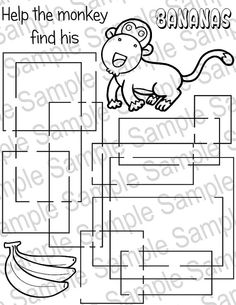Printable Unique Monkey Bananas Maze And Coloring Sheet By CustomizableArt