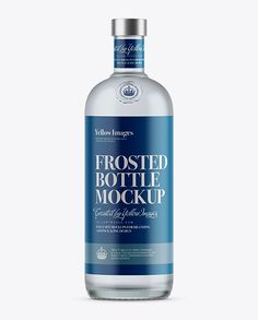 1L Frosted Glass White Rum Bottle Mockup