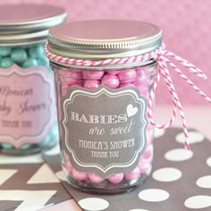 Print out a sticker! Mason jars offer endless possibilities. Fill with candy, soaps, jams or a sparkling beverage! Personalized Baby Mini Mason Jars
