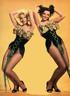 """Marilyn Monroe and Jane Russell in a publicity photo for """"Gentlemen Prefer Blondes""""."""