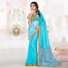 Buy Firozi Thread Embroidered Designer Saree online India, Best Prices, Reviews - Peachmode