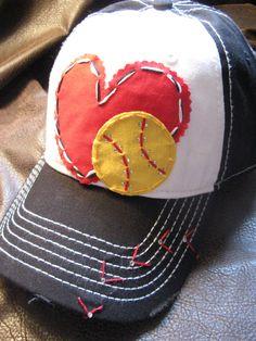 Softball Love Patchwork and Crystal Baseball Cap by BlingirlSpirit, $27.95