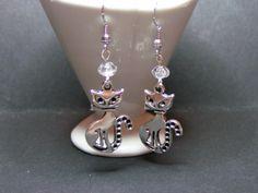 boucles d'oreilles chat en métal argenté de Jewelry fimo sur DaWanda.com