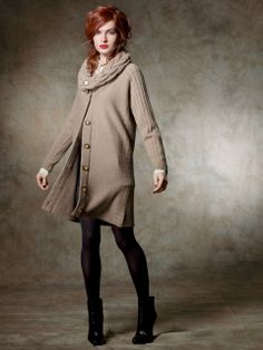 ladies' 100% cashmere coat with cable collar