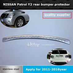 92.00$  Buy now - http://alicrt.worldwells.pw/go.php?t=32760823617 - for Nissan new Patrol Y2 2011-2016 stainless steel rear bumper sill,rear door protecting plate, ISO9001 quality guarantee