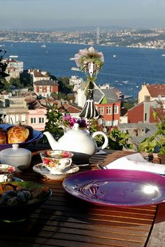 Tea time overlooking the Bosphorus, Istanbul, Turkey (or tea time outdoors overlooking any body of water).